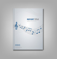 Brochures book or flyer with musical notes on vector