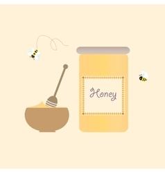 Cartoon bee jar honey retro healthy natural vector