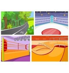 Cartoon set of backgrounds - sport infrastructure vector