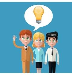 Cartoon teamwork business bulb idea innovation vector