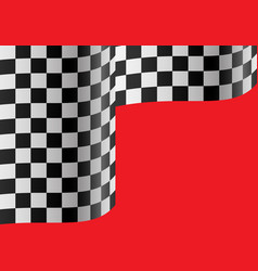 checkered flag wave on red vector image vector image