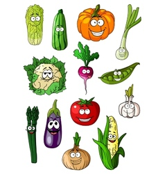 Cheerful cartoon various vegetables characters vector image