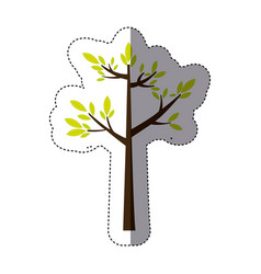 Color sticker silhouette with green tree growing vector