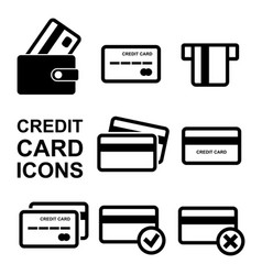 credit card icon set vector image