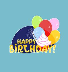 happy birthday sticker social media network vector image vector image