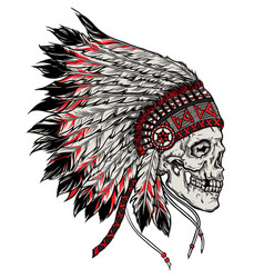 Indian skull hand drawn isolated vector