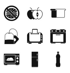 Kitchen furnace icons set simple style vector
