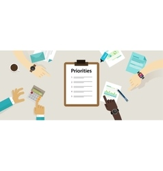 Priorities priority list desk business personal vector