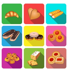 Set of icons on a theme cake baking vector
