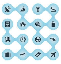 Set of simple airport icons vector