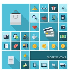 SHOPPING icons with long shadow vector image vector image