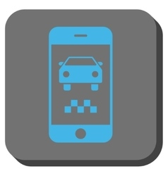 Smartphone taxi car rounded square button vector