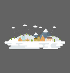 snowing urban winter landscape in flat design vector image vector image