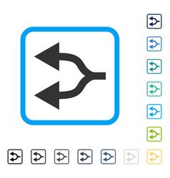 Split arrows left framed icon vector