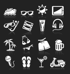 Travel white icons set vector image