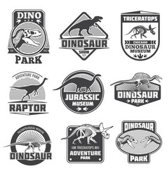 Vintage grunge dinosaur labels dino logos vector