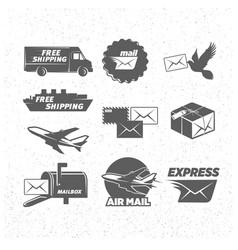 Vintage post service icons set vector