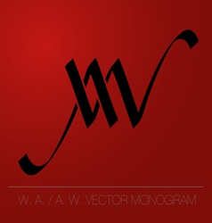 Wa aw logo monogram vector