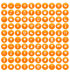 100 leaf icons set orange vector