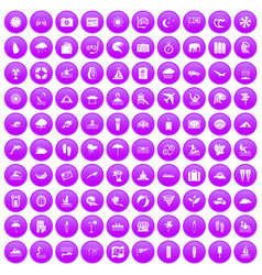 100 surfing icons set purple vector