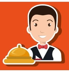 Waiter housekeeper man hotel vector