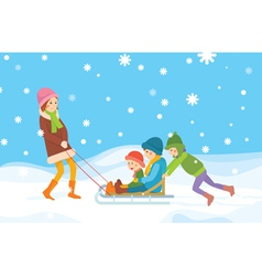Children sledding vector