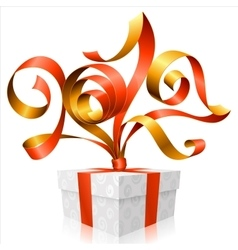 Red ribbon and gift box symbol of new year 2017 vector