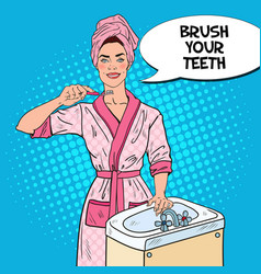 pop art young woman brushing teeth in bathroom vector image
