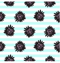 striped black bold florals seamless pattern vector image