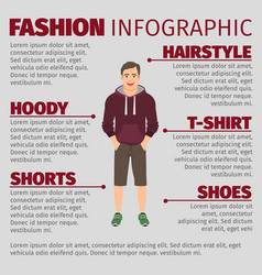 Fashion infographic with men in hoodie vector