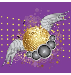 Gold disco ball with wings vector image