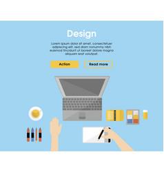 flat designer workplace template vector image