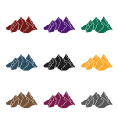 Mountain range icon in black style isolated on vector