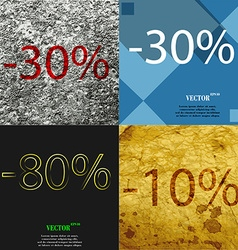 30 80 10 icon set of percent discount on abstract vector