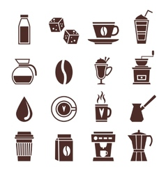 Coffee icons monochrome vector