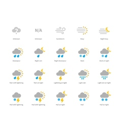Meteorology colored icons on white background vector