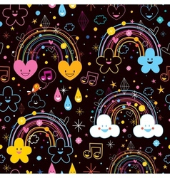 Rainbows clouds hearts cartoon pattern vector
