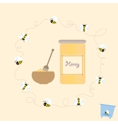 Cartoon bee jar honey retro healthy natural vector
