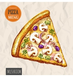 A slice of mushroom pizza vector