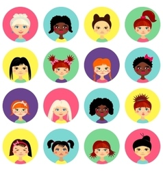 Multinational female face avatar profile heads vector