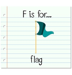Flashcard letter f is for flag vector