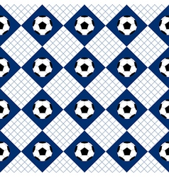 Football ball blue white chess board diamond vector