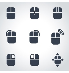 Black computer mouse icon set vector