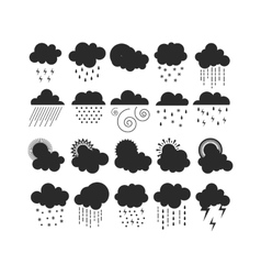Black clouds icons silhouette vector