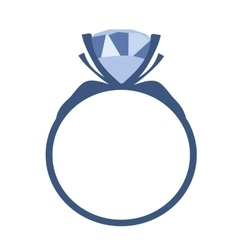 Blue Diamond engagement ring icon vector image