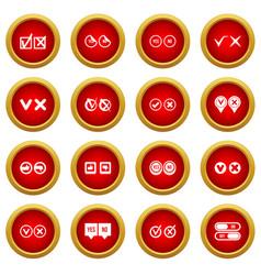 Check mark icon red circle set vector