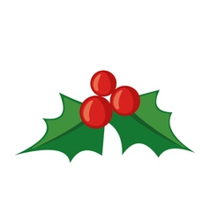 Christmas mistletoe icon in flat style vector image