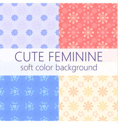 cute girly abstract floral seamless pattern set vector image vector image