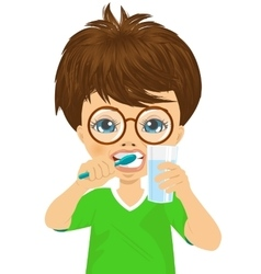 Cute little boy brushing teeth vector image vector image