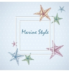 Decorative square frame for text with starfishes vector image vector image